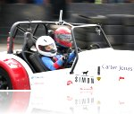 Adam driving Simon the specially adapted Speed Of Sight track car.